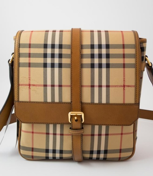 b921abb3ce45 Authentic Brand New Burberry Horseferry Check Small Messenger Bag in Oak    Brown