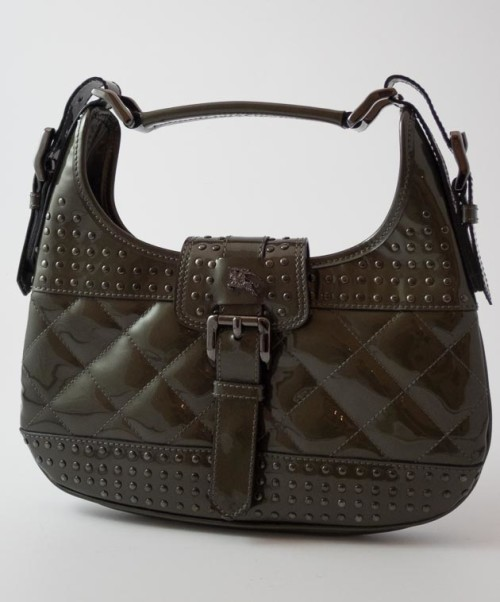 ac4d2d192d08 Authentic Preloved Burberry Small Hobo Bag in Olive Green Patent with dark  Silver Hardware