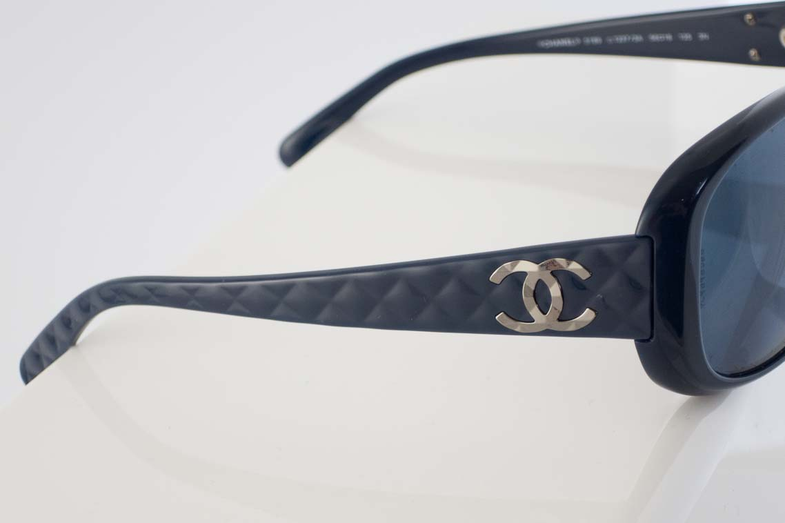Authentic Preloved Chanel Navy Quilted Sunglasses The Finer Things