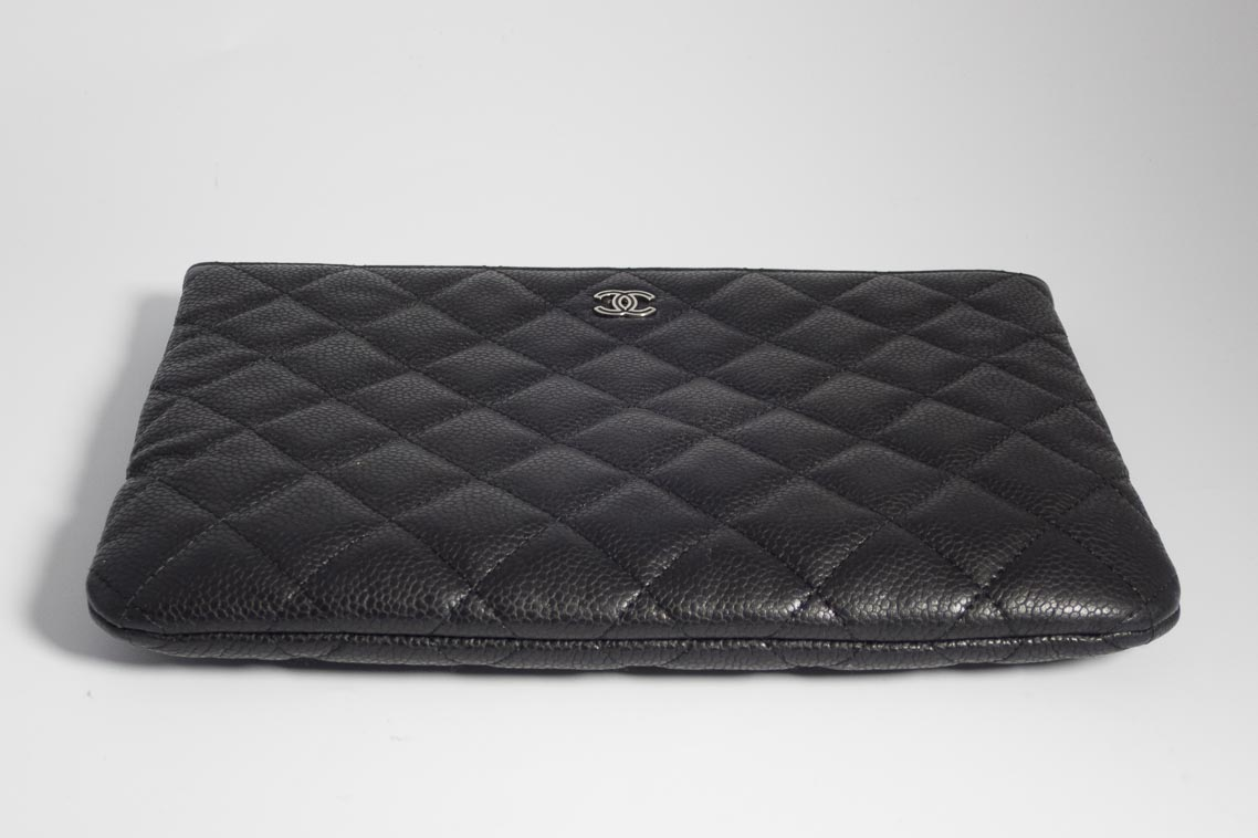 Authentic Preloved Chanel O Case Pouch Clutch Bag In Black