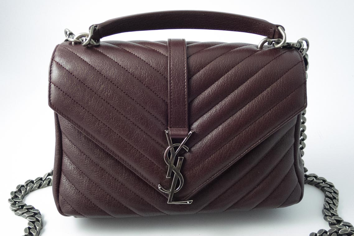 b3d3cf2b86f1 Authentic Brand New Saint Laurent Classic Medium Monogram College bag in  Burgundy Red Matelassé with Silver Hardware