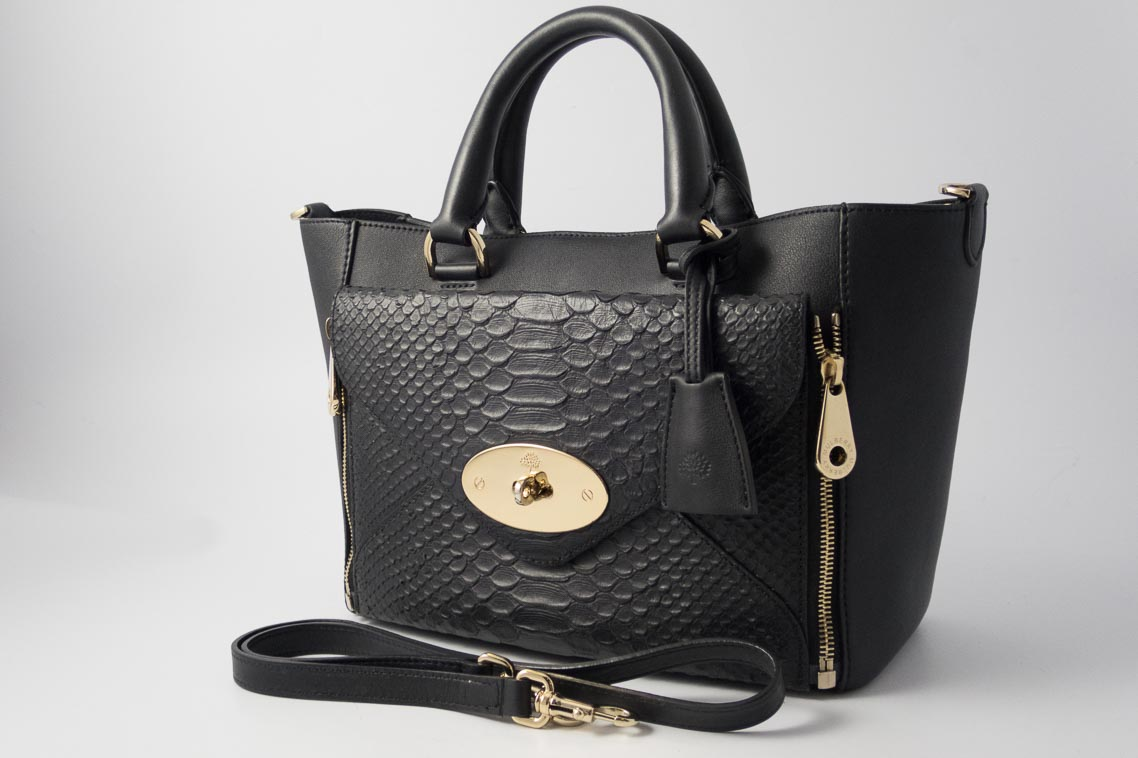 074b7d2d4e Authentic Preloved Mulberry Small Willow in Black Classic Calf and Silky  Snake Mix Leather with Soft Gold Hardware