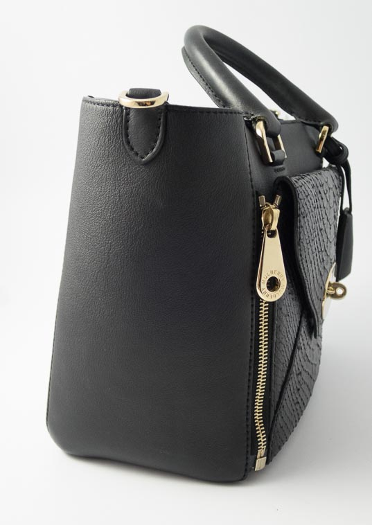 e6a5853282d7 Authentic Preloved Mulberry Small Willow in Black Classic Calf and Silky  Snake Mix Leather with Soft Gold Hardware