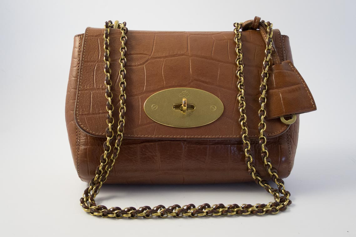 9bc1ff2f50b5 Authentic Preloved Mulberry Lily in Oak PVT Printed Croc Leather with Brass  Hardware