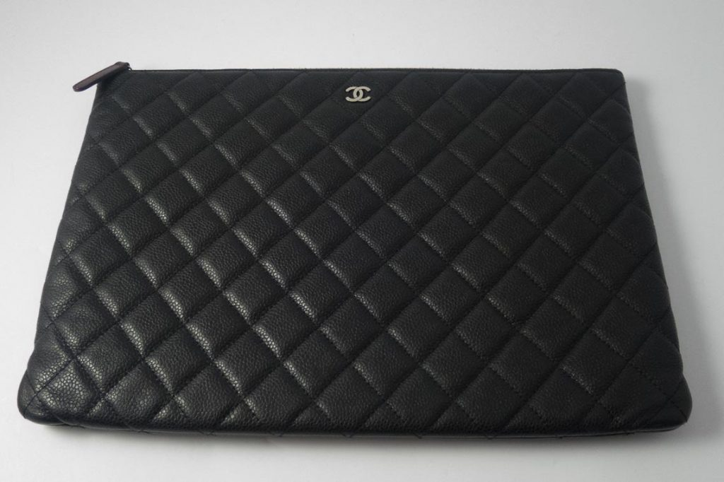 Authentic Preloved Chanel Large O Case Pouch Clutch In