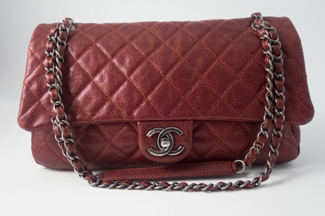 8643f5c4eaae Authentic Preloved Chanel Jumbo Shiva Easy Flap Bag in Burgundy Glazed  Caviar with Ruthenium Silver Hardware