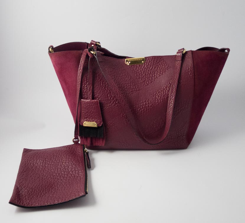18f1f7c5c7c2 Authentic Preloved Burberry Small Canter Tote with Pouch in Burgundy  Embossed Check Leather with Gold Hardware