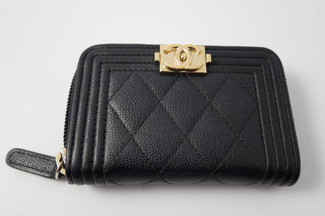chanel zip coin purse. authentic preloved chanel boy small zip around coin purse wallet in black caviar with gold hardware f