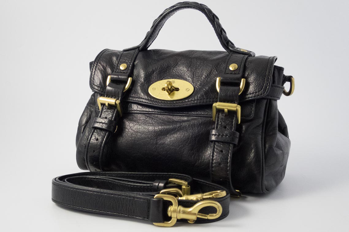 50c18e024272 Authentic Preloved Mulberry Mini Alexa in Black Soft Buffalo with Brass  Hardware