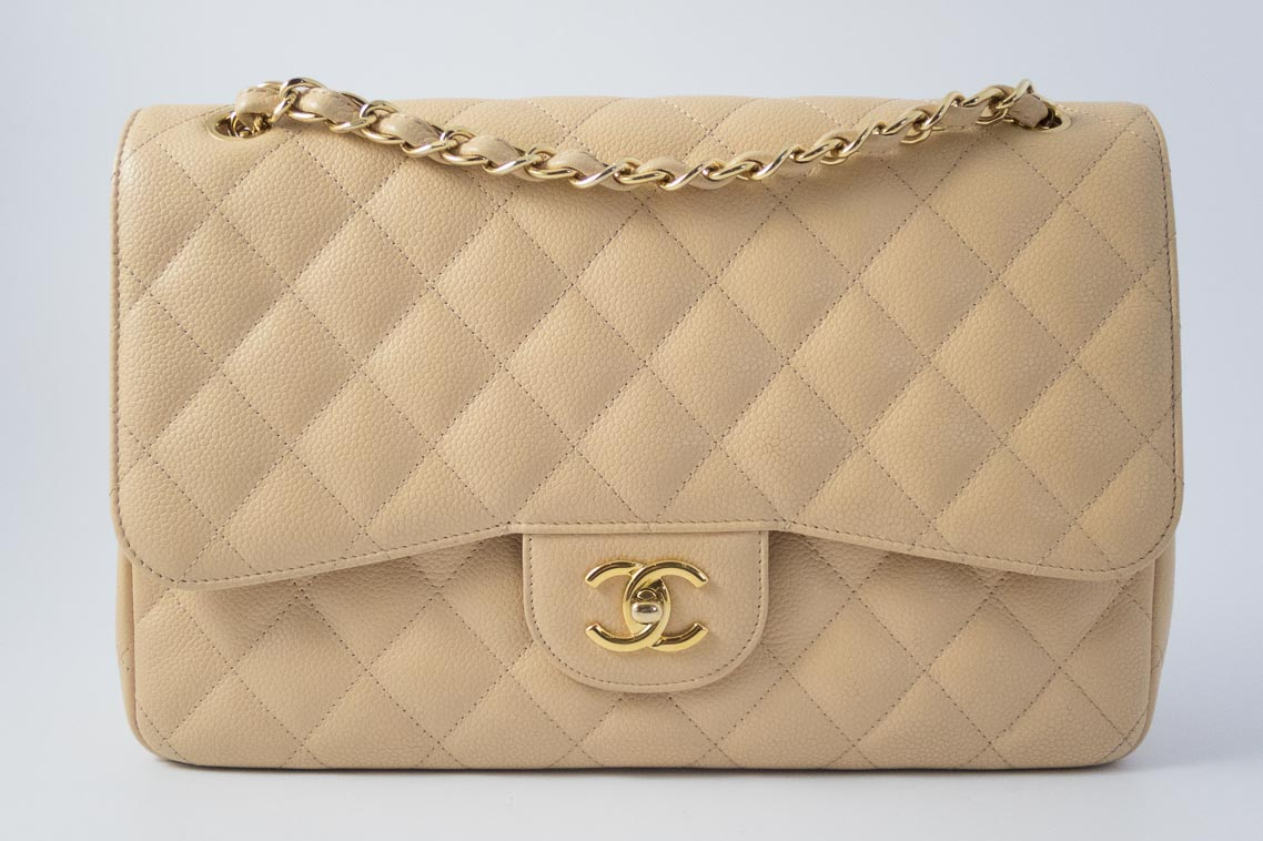 9daa564184d8e3 Authentic Preloved Chanel Jumbo Classic Double Flap Bag in Beige Clair  Caviar with Gold Hardware