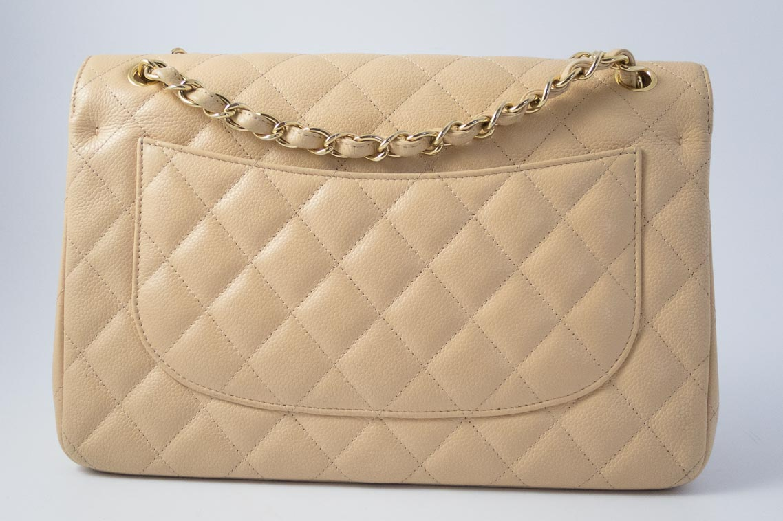 44aece32f5e3 Authentic Preloved Chanel Jumbo Classic Double Flap Bag in Beige Clair  Caviar with Gold Hardware | The Finer Things Aberdeen