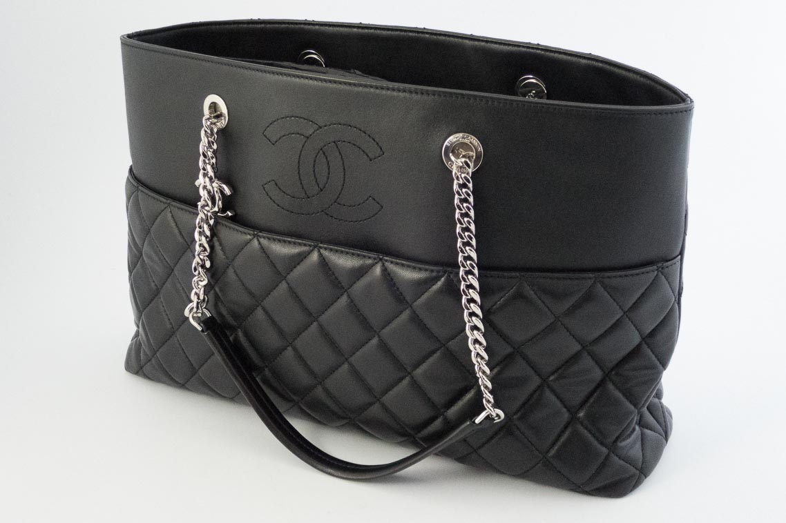 0675a0f8dc60 Previous  Next. 1  2  3. Previous  Next. Authentic Preloved Chanel Large Tote  Bag in Black Lambskin and Calfskin with Silver Hardware