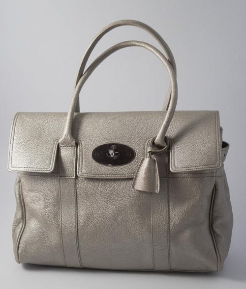 bf939ace7a12 Authentic Preloved   Refurbished Mulberry Bayswater in Sliver Metallic  Leather with Silver Nickel Hardware