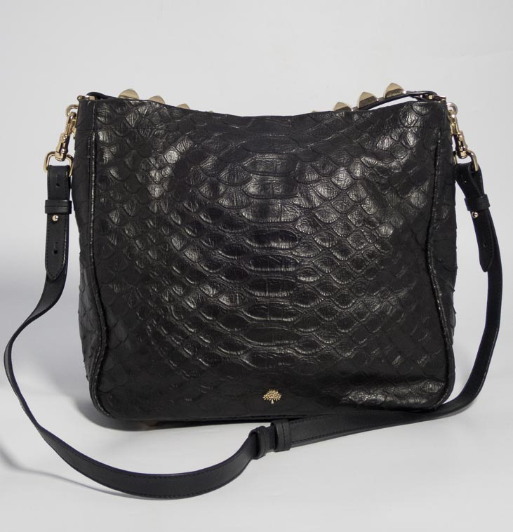 6b6d1cd51081 Authentic Preloved Mulberry Eliza in Black Silky Snake Embossed Leather  with Soft Gold Hardware