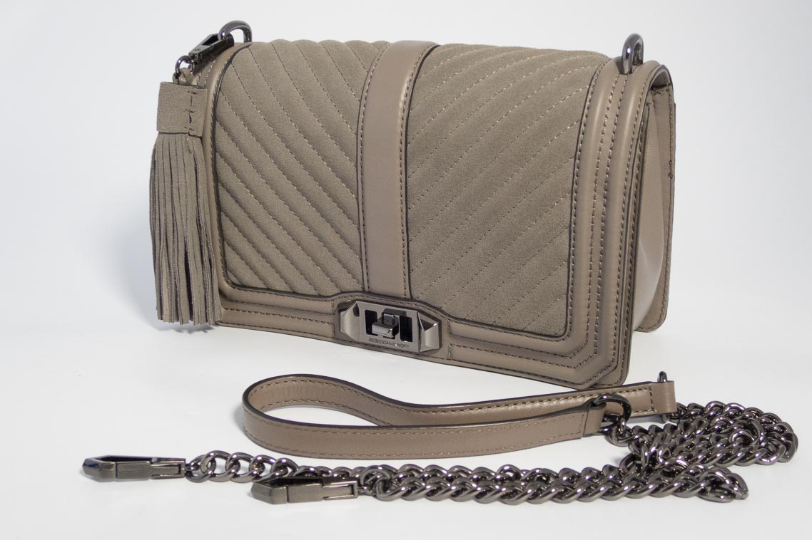d498ee6eb351 Authentic Preloved Rebecca Minkoff Love Crossbody Bag in Grey Taupe Chevron  with Tassel and Silver Hardware