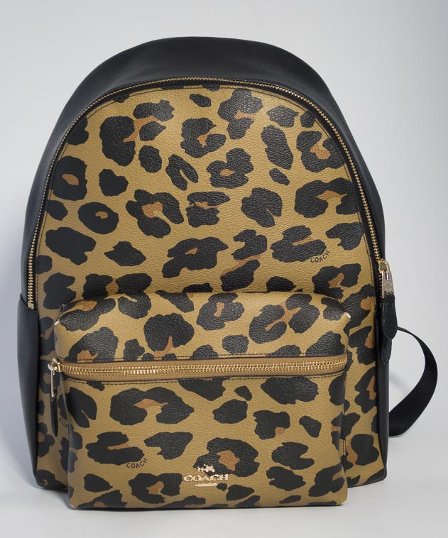 852c16f9c Authentic Preloved Coach Ocelot Leopard Print Backpack in Oak Brown and  Black with Gold Hardware