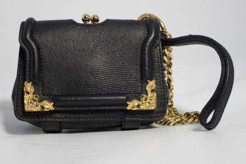 184311d79e2a Authentic Preloved Alexander McQueen Skull Clutch   Wristlet in Black with Gold  Hardware