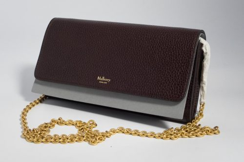 79ed0ac3d2 ... good authentic brand new mulberry continental clutch bag wallet on  chain in oxblood with gold hardware