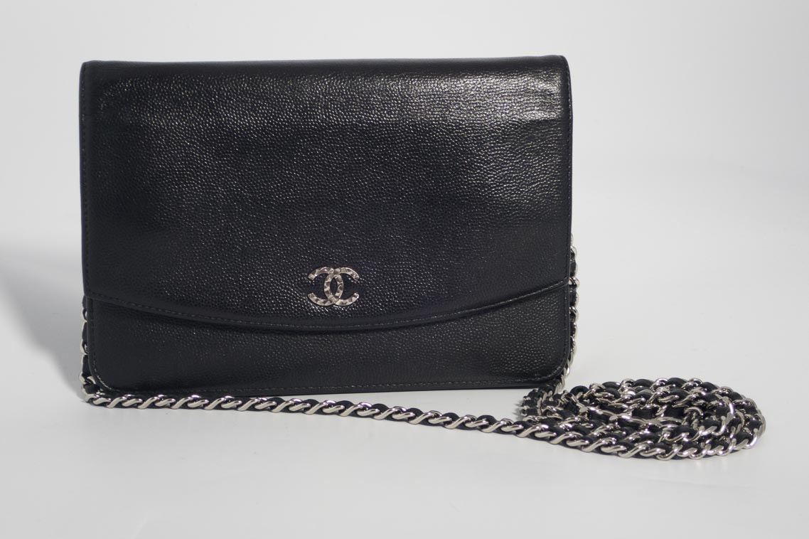 68f9856d0f24ce Authentic Preloved Chanel Sevruga WOC Wallet on Chain in Black Caviar with  Silver Hardware