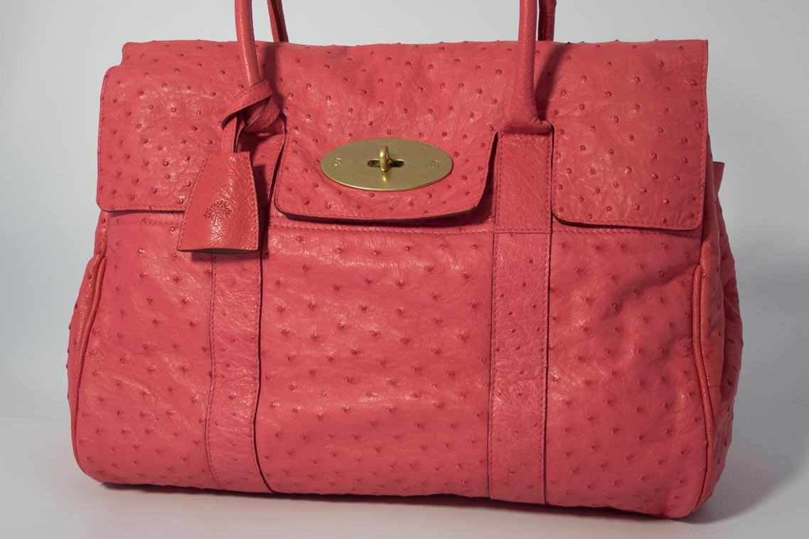d24fd0eba651 Authentic Preloved Mulberry Heritage Bayswater in Pink Ostrich Leather with  Brass Hardware