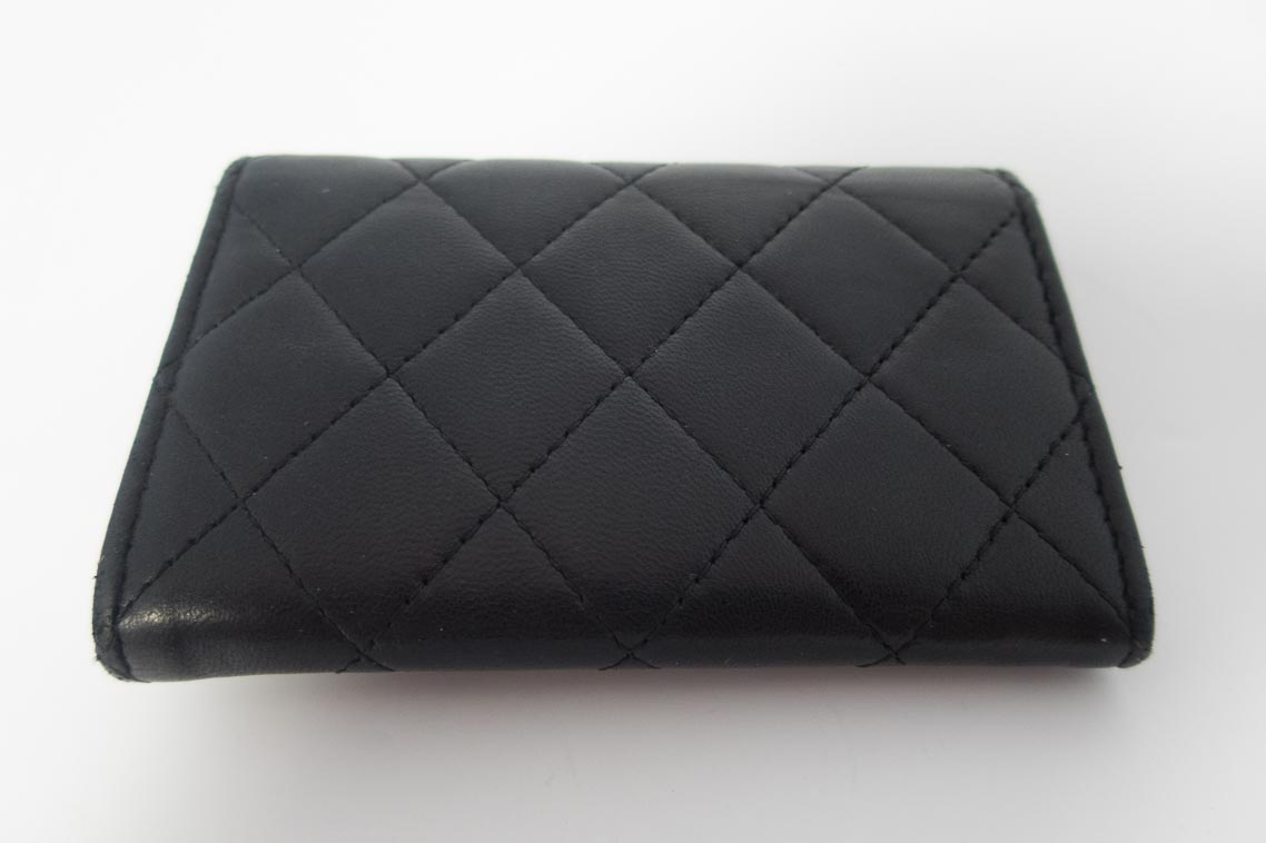 d39f5fd05 Authentic Preloved Chanel Card Case Small Purse in Black Lambskin with Silver  Hardware | The Finer Things Aberdeen