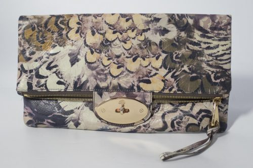 198bc903b02 Authentic Preloved Mulberry Postmans Lock Clutch bag in Feathered Friends  Printed Grey Leather with Soft Gold Hardware