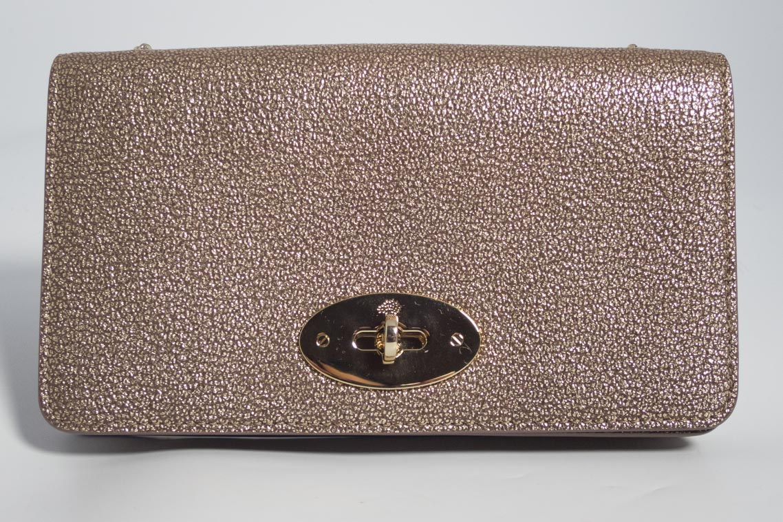 8b35ab97a9 Authentic Preloved Mulberry Bayswater Clutch Bag in Metallic Mushroom Gold  with Soft Gold Hardware