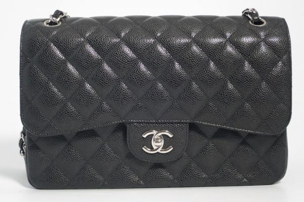 055bd0983f5 Authentic Preloved but As New Chanel Jumbo Classic Timeless Double Flap Bag  in Black Quilted Caviar with Silver Hardware 2016