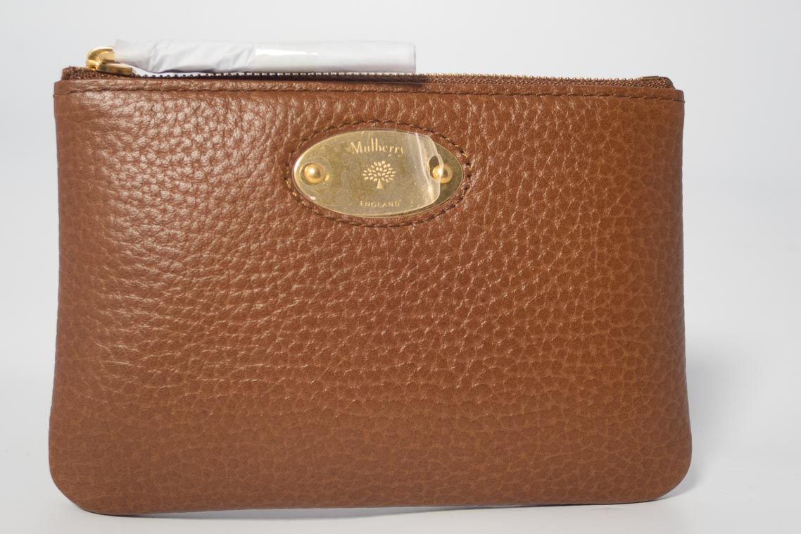 good looking for sale well known Authentic Brand New Mulberry Plaque Zip Coin Purse in Oak with Gold Hardware