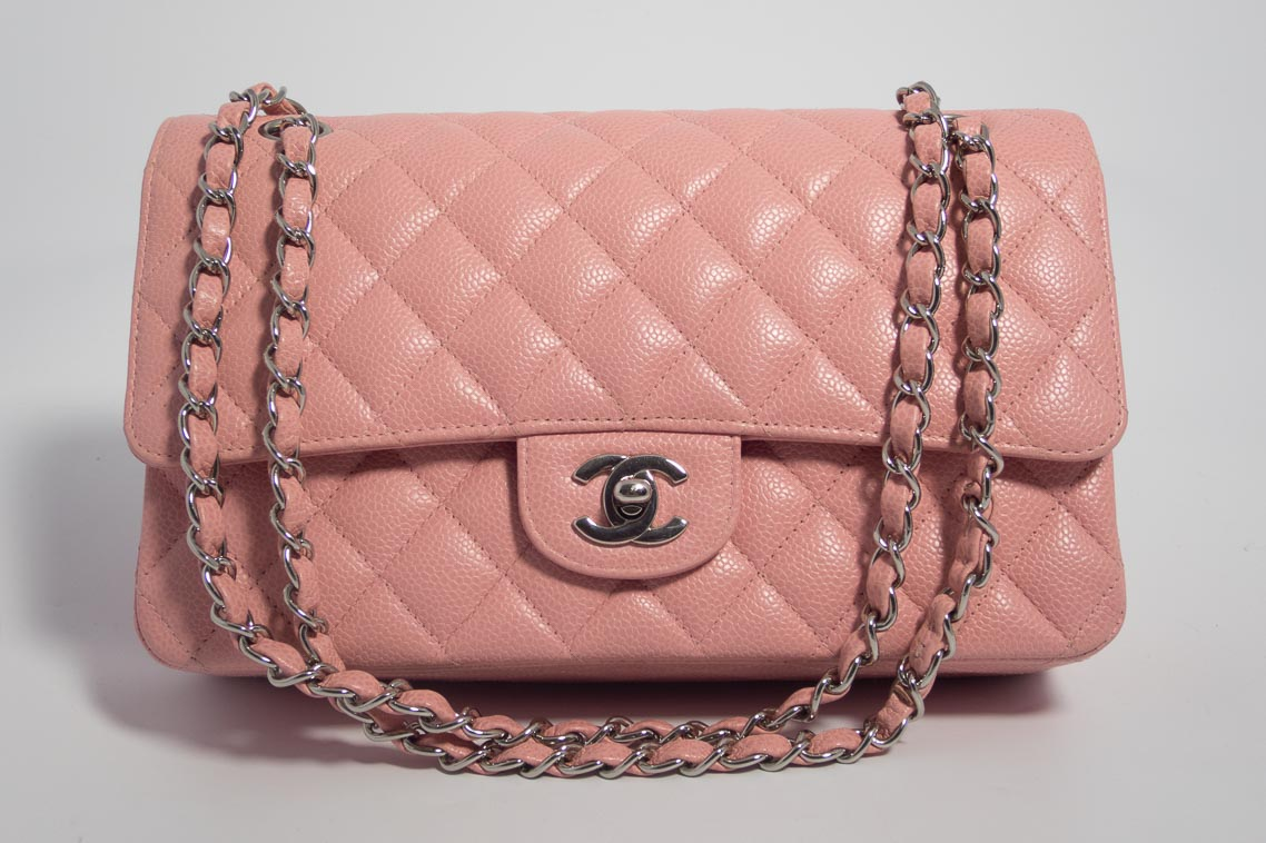 3b5ba931258d Authentic Preloved Chanel Medium   Large Classic Double Flap Bag in Light  Baby Pink Caviar leather with Silver Hardware