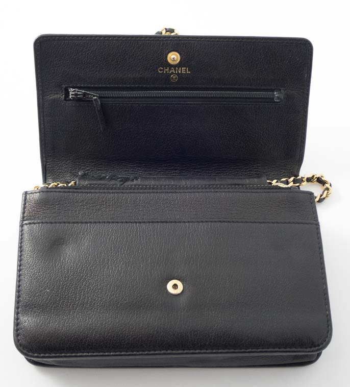 6643475cc05d Authentic Preloved Chanel Camellia Woc Wallet on Chain in Black with Gold  Hardware