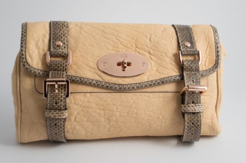 4ff7fc4493 Authentic Preloved Mulberry Postmans Lock Alexa Style Clutch Bag in Nude  Plonge lambskin with Grey Snakeskin detail with Rose Gold Hardware