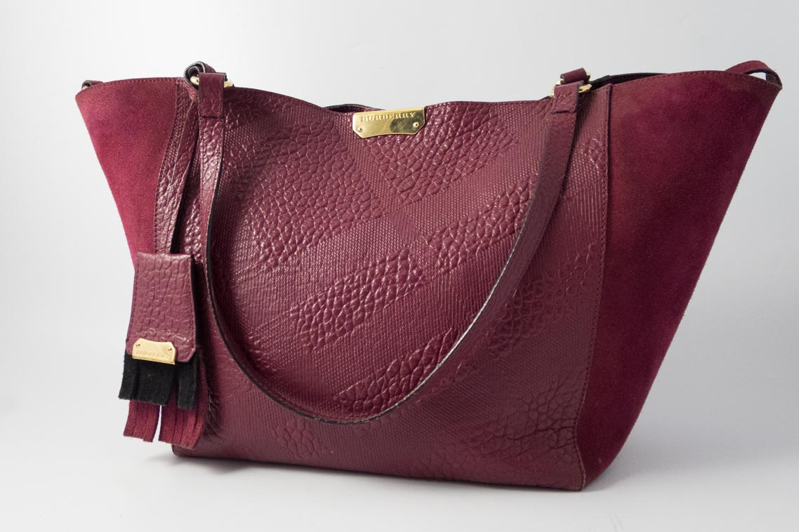 064b676a19 Authentic Preloved Burberry Small Canter Tote with Pouch in Burgundy  Embossed Check Leather with Gold Hardware