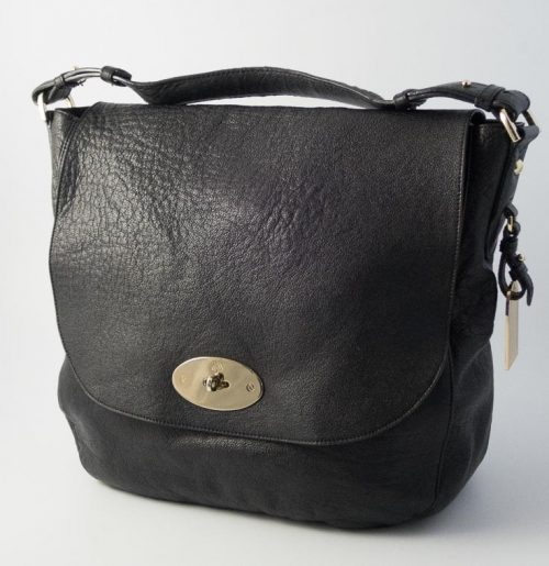 5f9533185cb5 Authentic Preloved Mulberry Postmans Lock Hobo in Black Buffalo Shine  Leather with Soft Gold Hardware