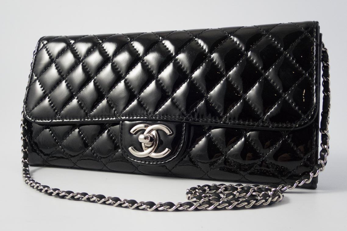 5de84f51a6f0d6 Authentic Preloved Chanel East West Clutch on Chain in Black Patent Leather  with Silver Hardware