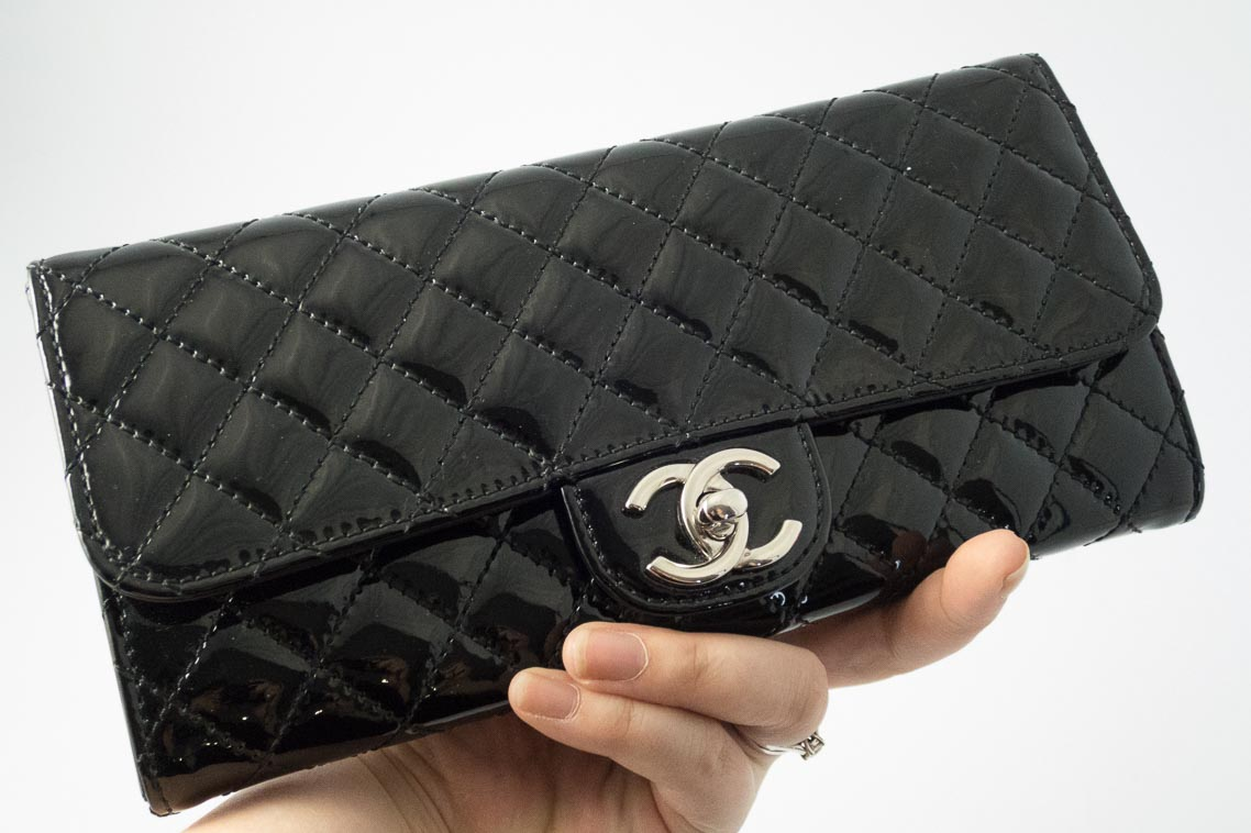 2f86b78d7e91 Authentic Preloved Chanel East West Clutch on Chain in Black Patent Leather  with Silver Hardware | The Finer Things Aberdeen