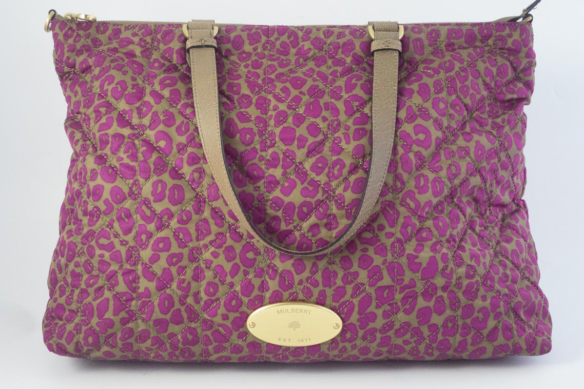 971332c8f19 Authentic Preloved Mulberry Rosie Nylon Tote in Mini Leopard Foxglove Pink  with Brass Hardware