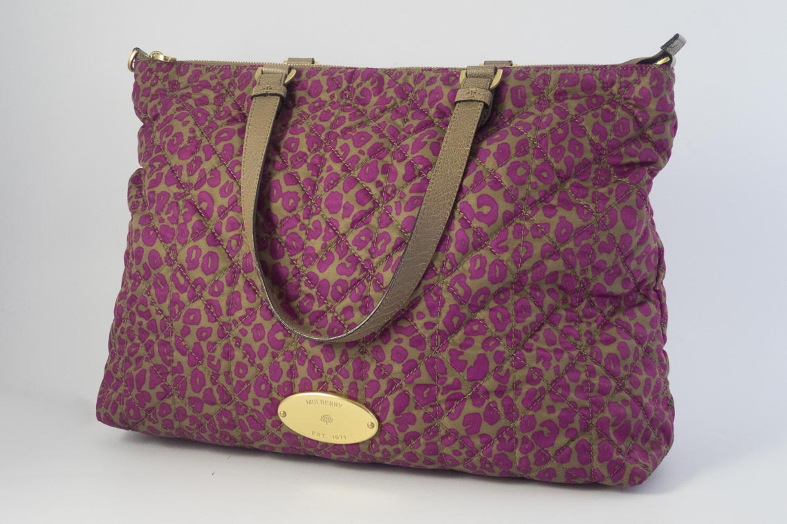 6d2f480a8125 Authentic Preloved Mulberry Rosie Nylon Tote in Mini Leopard Foxglove Pink  with Brass Hardware