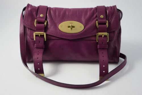 a13505aa10 Authentic Preloved Mulberry Postmans Lock Alexa Clutch Bag in Plum Purple  Soft Buffalo with Brass Hardware