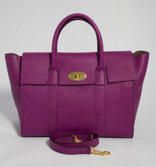 5d9aec3a6d Authentic Brand New Mulberry Bayswater with Strap in Violet Purple with  Gold Hardware