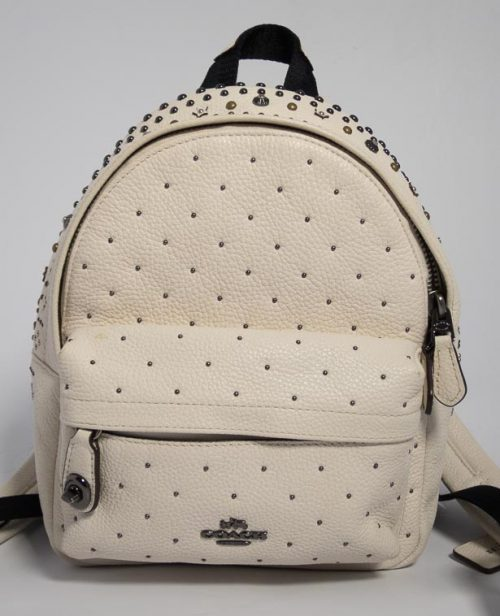 8c12926406 Authentic Preloved Coach Mini Studded Backpack in Chalk with Mixed Metal  Hardware