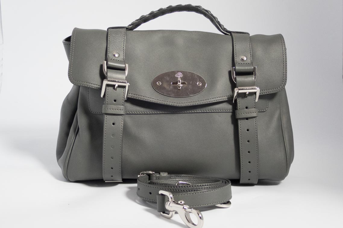 Authentic Preloved Mulberry Alexa In Pavement Grey Smooth Calf With Silver Nickel Hardware