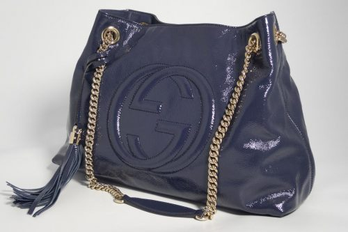 7e92bcbab Authentic Preloved Gucci Soho Chain Tote Bag in Navy Patent leather with  Gold Hardware