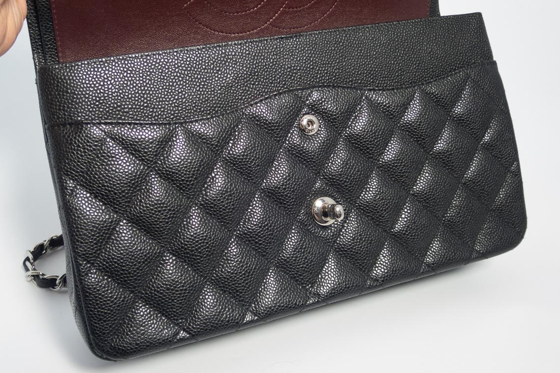 5065ee28786160 Authentic Preloved but As New Chanel Jumbo Classic Timeless Double Flap Bag  in Black Quilted Caviar with Silver Hardware 2016